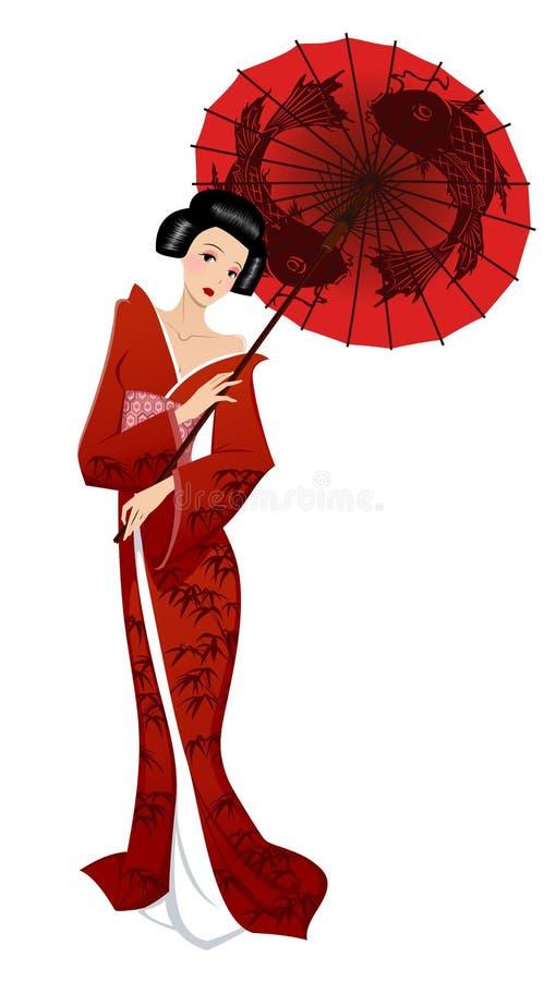 Menina japonesa ilustração stock