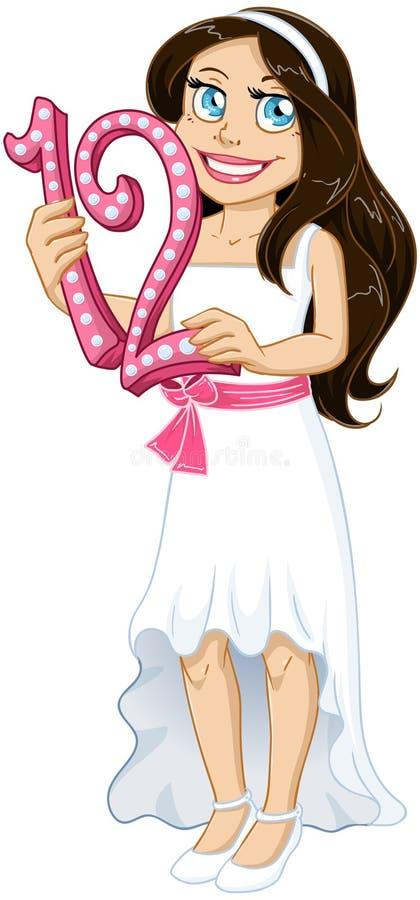 A menina judaica guarda o número doze para o Mitzvah de bastão ilustração royalty free