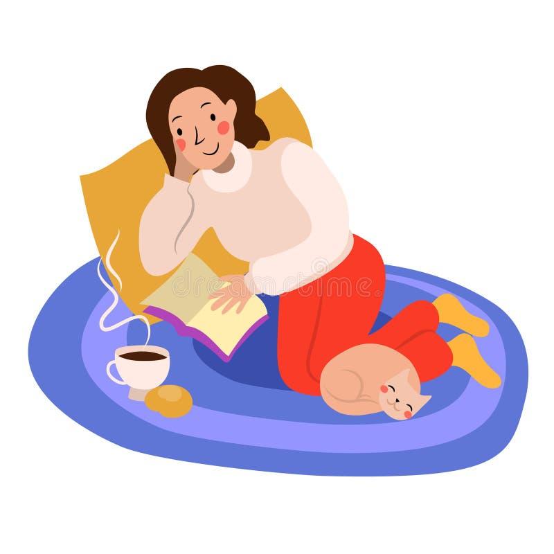 a menina lê um cuidado interessante do cosiness do livro ilustração stock