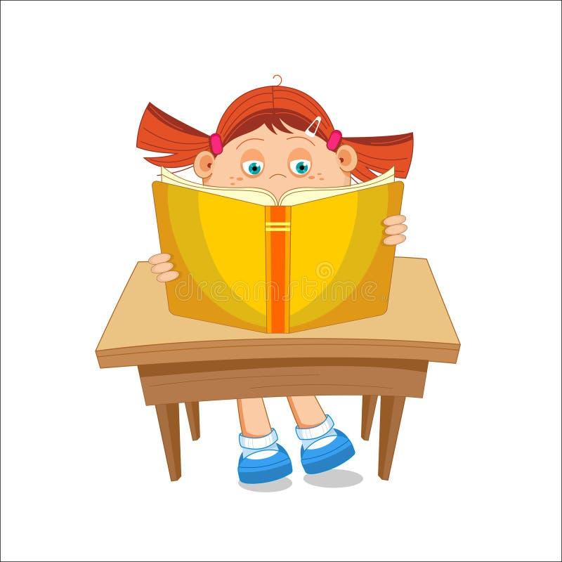 Menina, lendo o livro aberto, sentando-se na tabela, illustrati do vetor ilustração stock