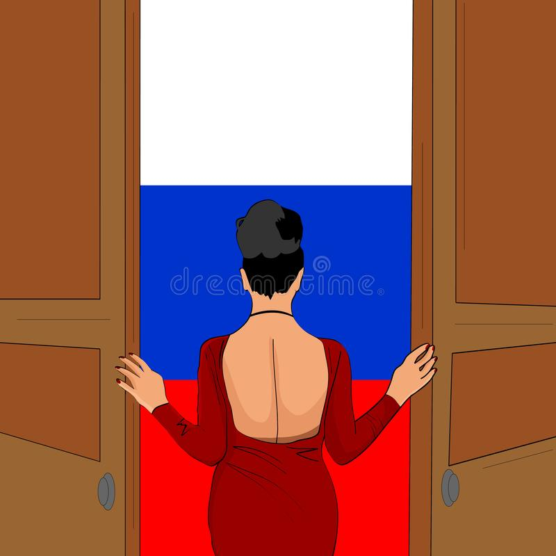 A menina lindo abre a porta a Rússia Boa vinda a Rússia ilustração royalty free