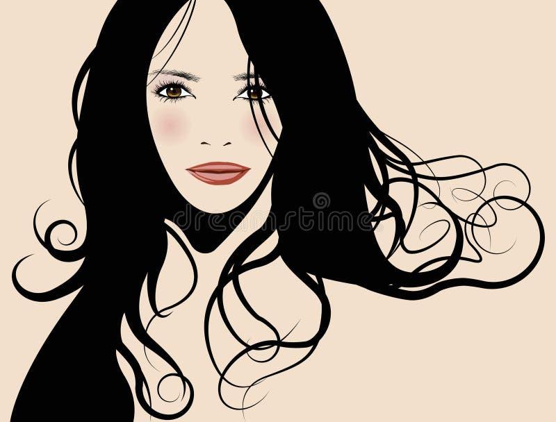 Menina lindo com cabelo longo ilustração royalty free