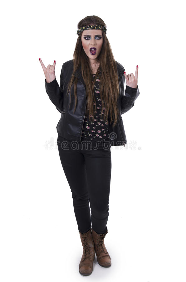Menina lindo do balancim da hippie do rebelde dos jovens fotos de stock royalty free