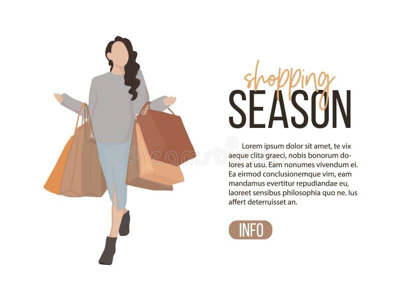 Menina lisa da ilustração do vetor na compra Mulher à moda nova com lote da arte dos sacos O fim de semana moderno relaxa o clipa ilustração stock