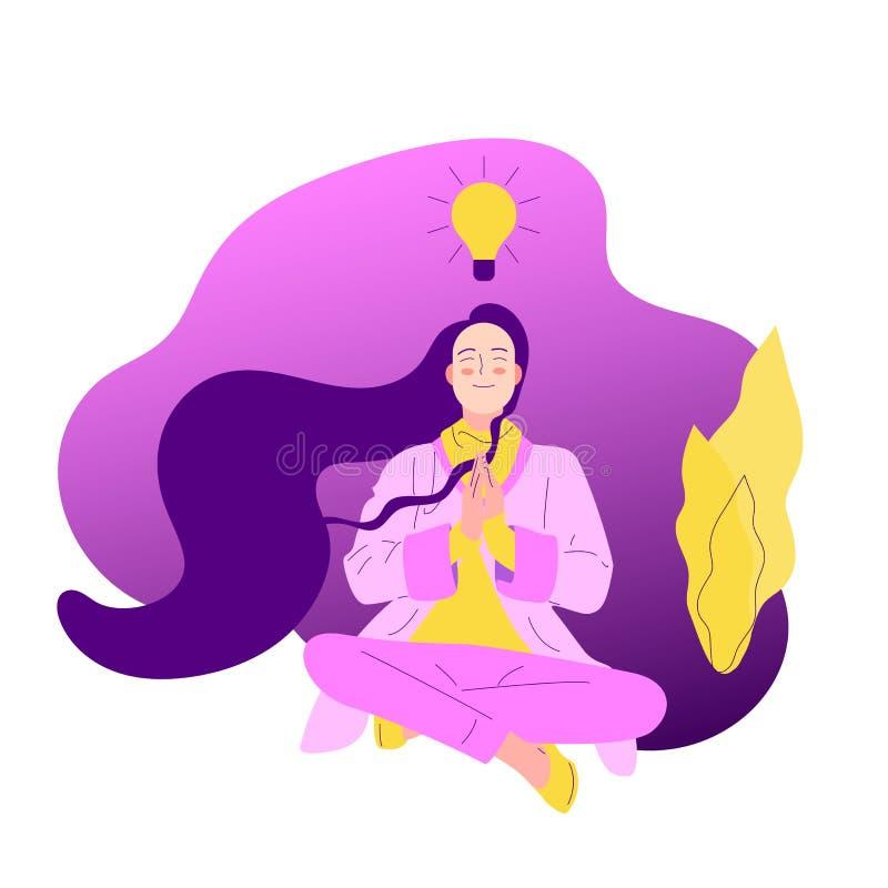 A menina lisa do estilo com assento longo do cabelo cruzou equipado com pernas com gesto da oração ilustração stock