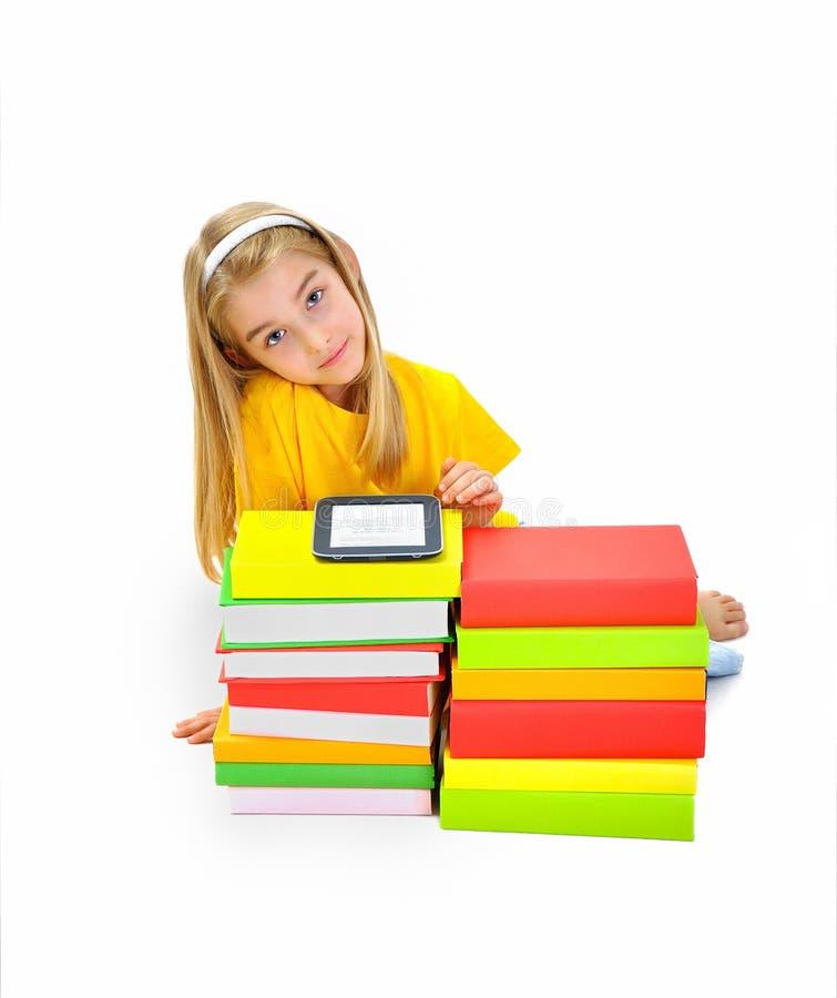 Menina, livros e eBook agradáveis imagens de stock royalty free
