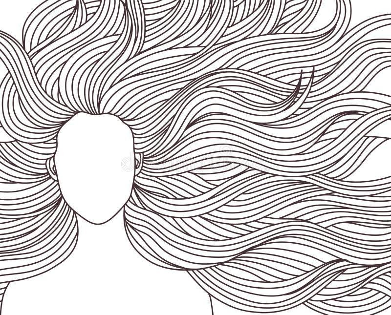 Menina longa da beleza do cabelo ilustração stock
