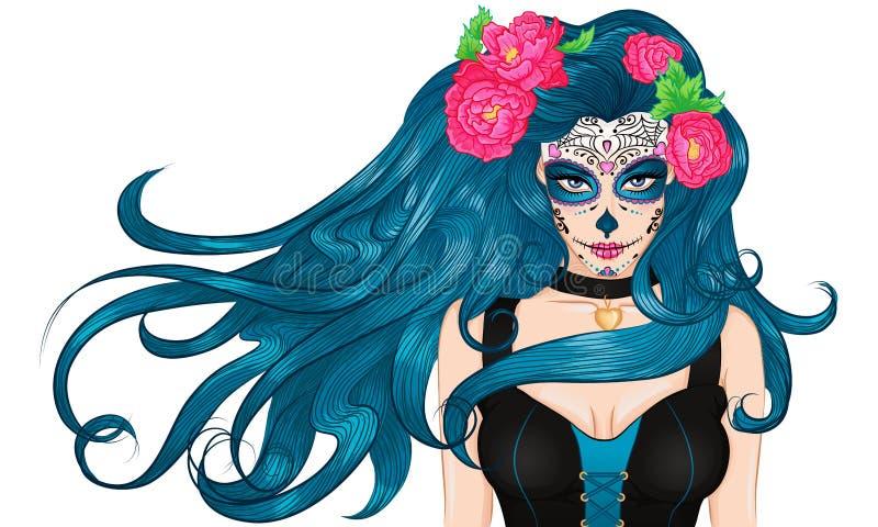Menina longa do cabelo da composição de Sugar Skull do mexicano ilustração do vetor