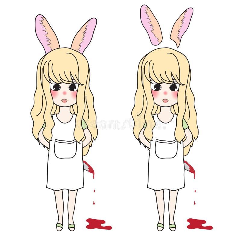 Menina longa encaracolado do cabelo com as orelhas de coelho que guardam a faca ensanguentado Ilustração do vetor Isolado no fund ilustração do vetor