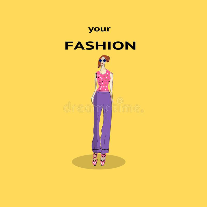 A menina loura à moda na forma veste a menina bonita tirada mão Mulher da forma esboço Ilustração do vetor ilustração do vetor