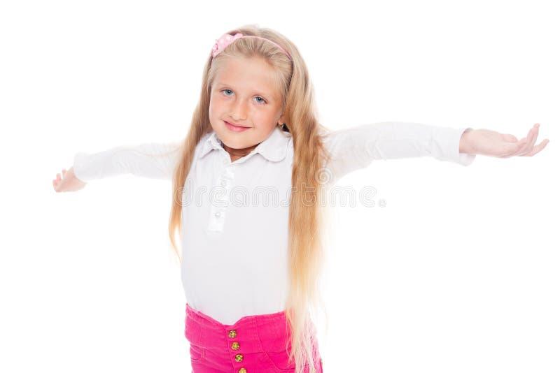Menina loura alegre fotos de stock