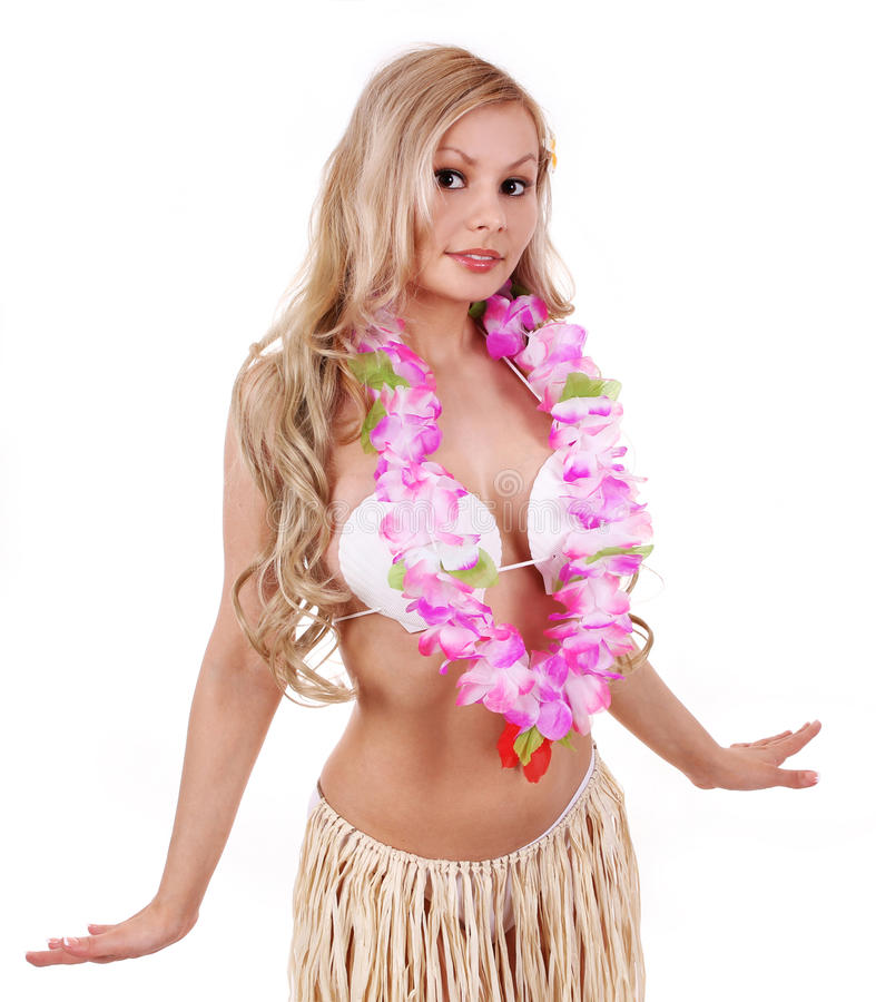 Menina loura bonita com acessórios havaianos foto de stock