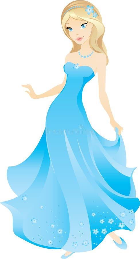 Menina loura bonita dos desenhos animados ilustração stock