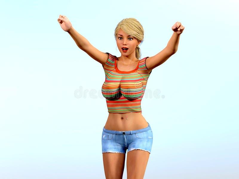 Menina loura bonita e 'sexy' com um sorriso, entusiasmado e mostrando o entusiasmo ilustração stock