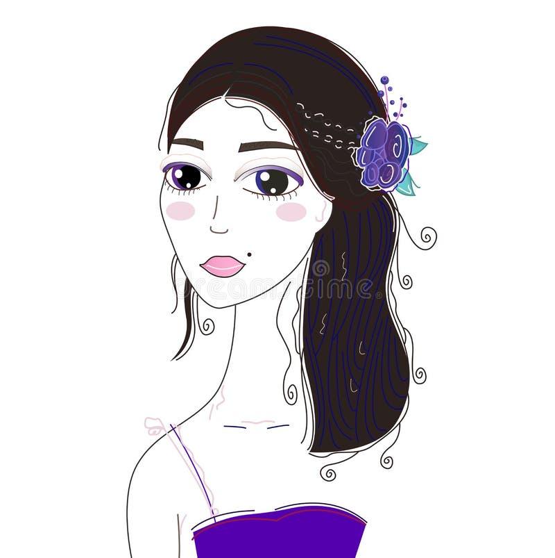 Menina loura bonita no branco ilustração stock