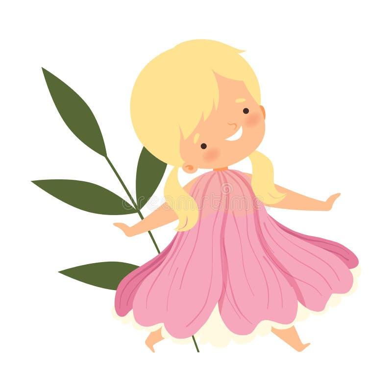 A menina loura bonita que veste o traje cor-de-rosa da flor, criança adorável no carnaval veste a ilustração do vetor ilustração royalty free