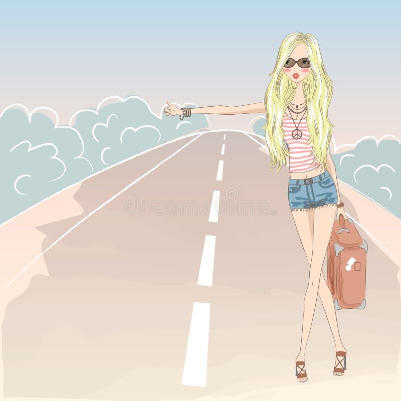 Menina loura bonito bonita na estrada ilustração do vetor