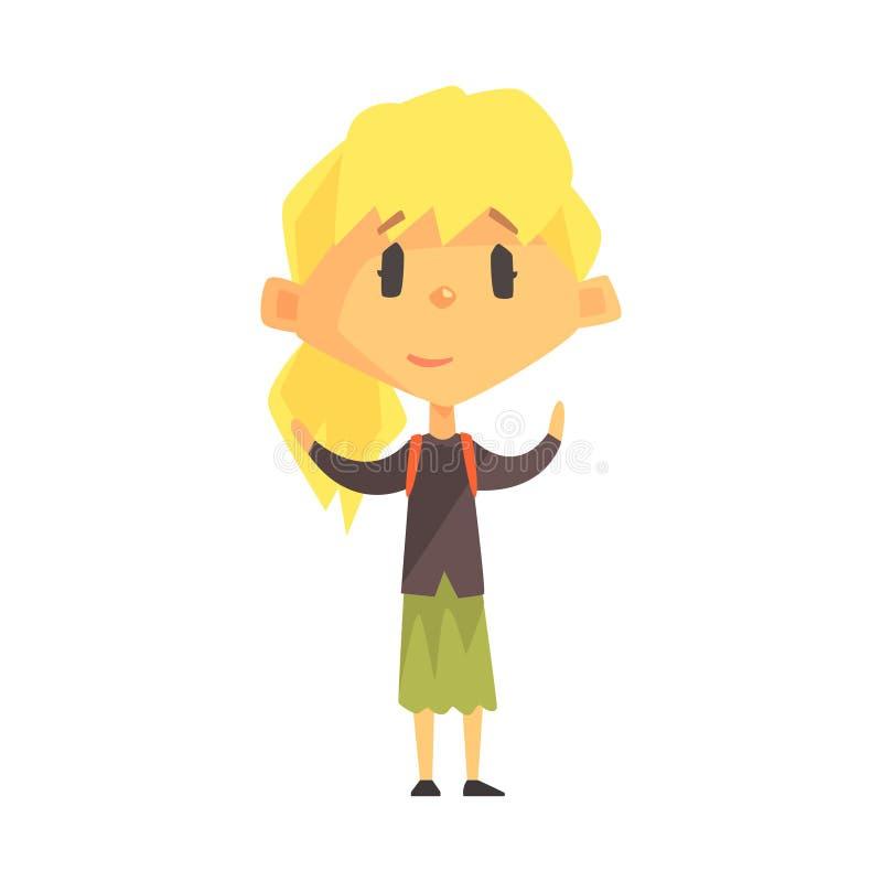 Menina loura calma com rabo de cavalo, criança da escola primária, membro elementar da classe, estudante novo isolado Character ilustração royalty free