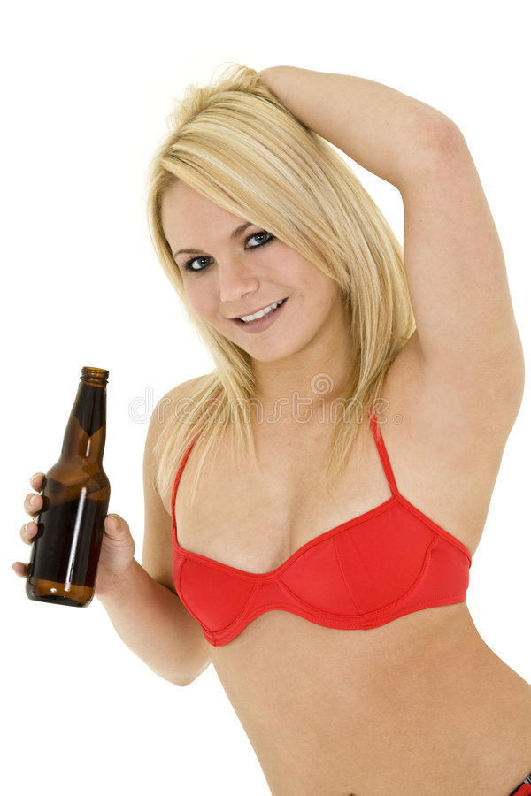 Menina loura com cerveja fotografia de stock