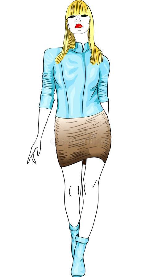 Menina loura da forma em um terno de couro ilustração royalty free