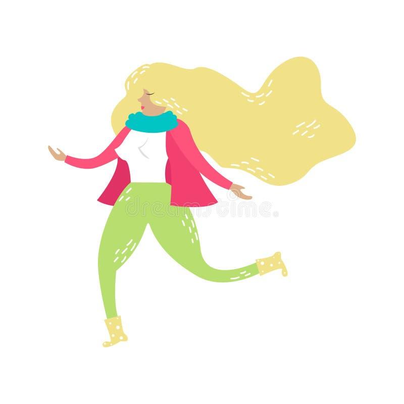 Menina loura de corrida do vetor Modo da mola Estilo desenhado à mão na moda ilustração royalty free