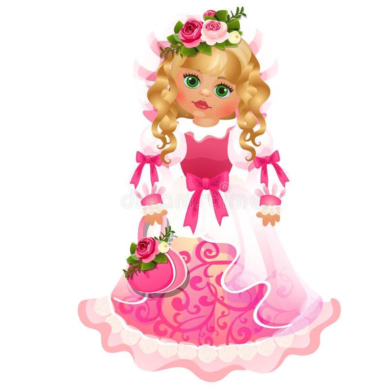 Menina loura de olhos verdes da boneca bonito com o vestido com fitas cor-de-rosa e as curvas isoladas no fundo branco Desenhos a ilustração royalty free