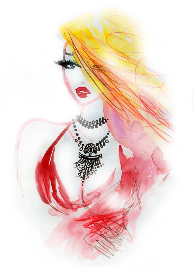Menina loura do encanto com colar luxuosa ilustração stock
