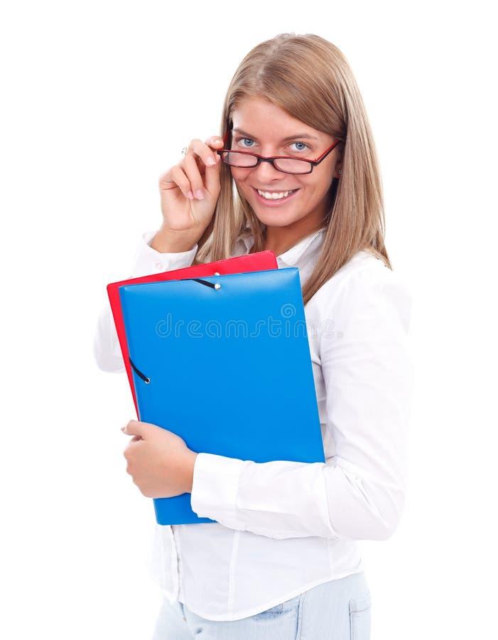 Menina loura do estudante foto de stock