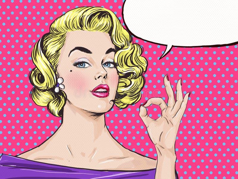 A menina loura do pop art está mostrando o sinal APROVADO com bolha do discurso, Menina do pop art ilustração do vetor