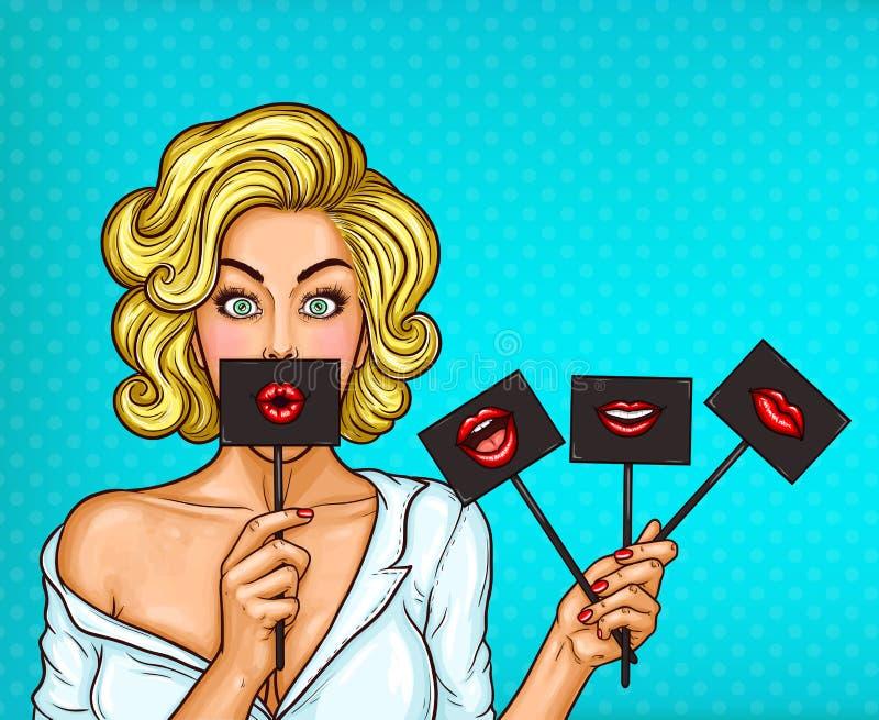 Menina loura do pop art que cobre sua boca com o sinal preto na vara com bordos vermelhos ilustração stock