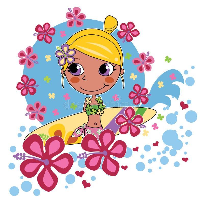 Menina loura do surfista ilustração royalty free