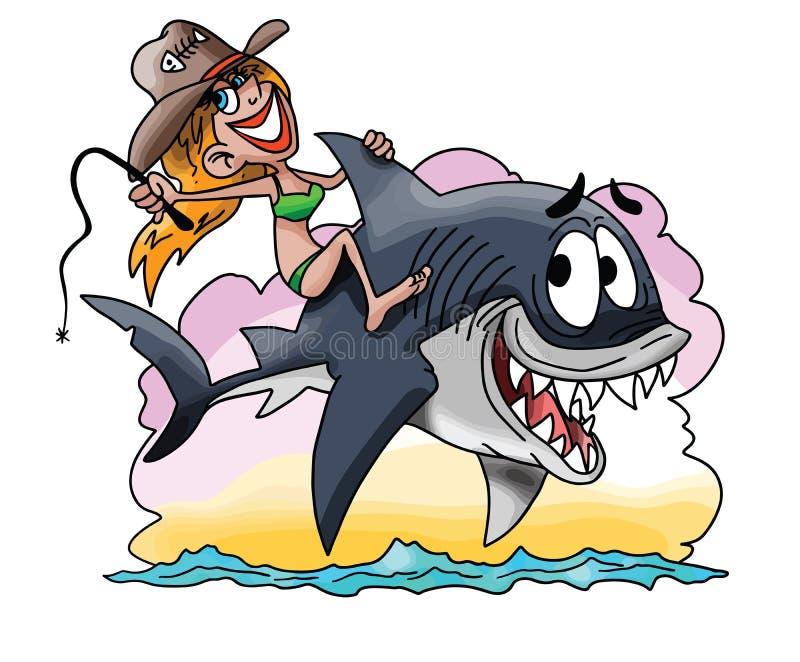 Menina loura dos desenhos animados que monta um grande vetor do tubarão branco ilustração stock