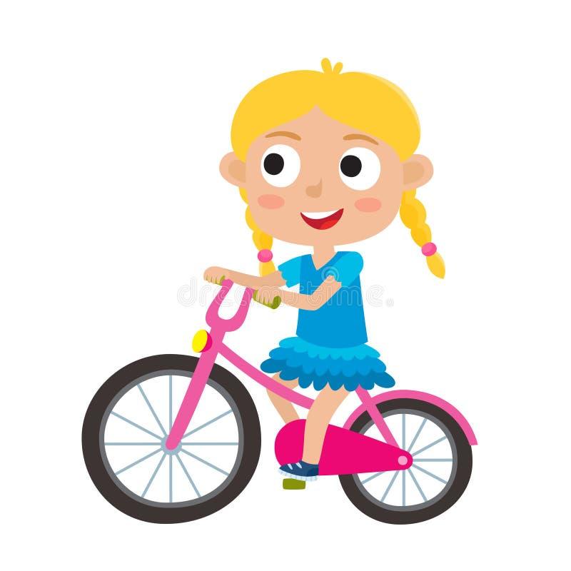 A menina loura dos desenhos animados que monta uma bicicleta que tem a equitação do divertimento bicycles o iso ilustração royalty free