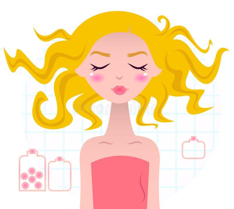 Menina loura dos termas bonitos na toalha cor-de-rosa ilustração stock