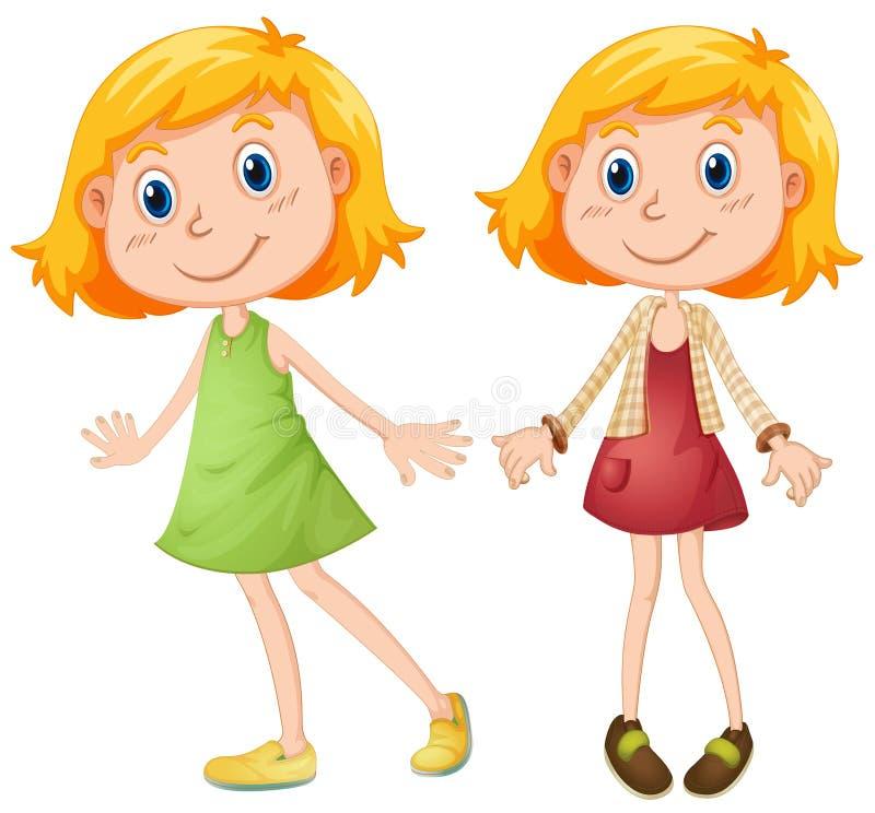 Menina loura em dois trajes ilustração do vetor