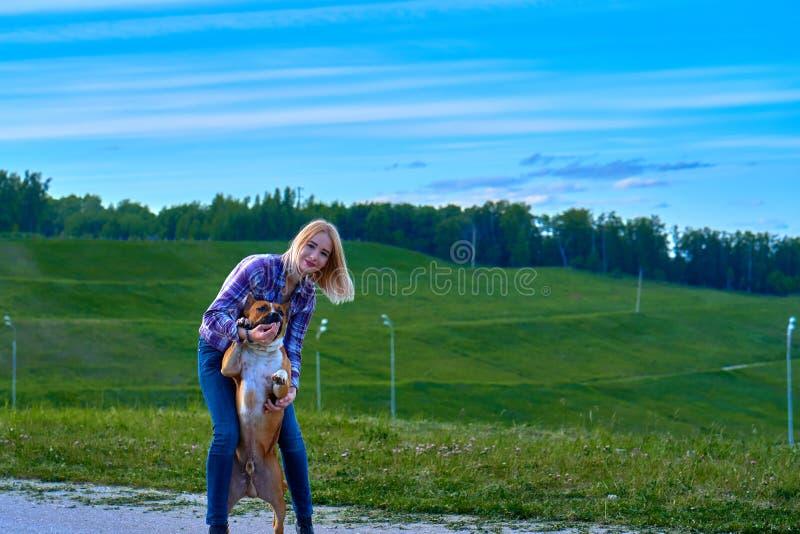 Menina loura em uma caminhada da noite com um cão fotos de stock