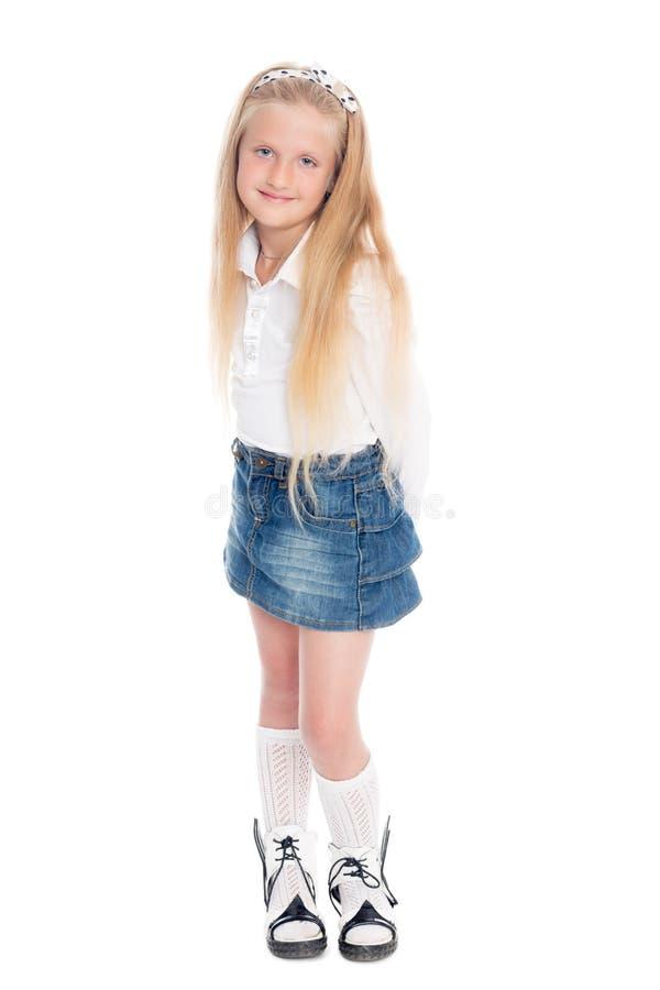 Menina loura isolada no fundo branco imagem de stock