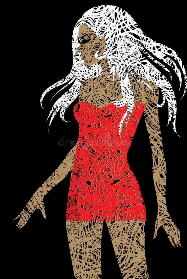 Menina loura magro com cabelo bonito no vestido vermelho ilustração stock