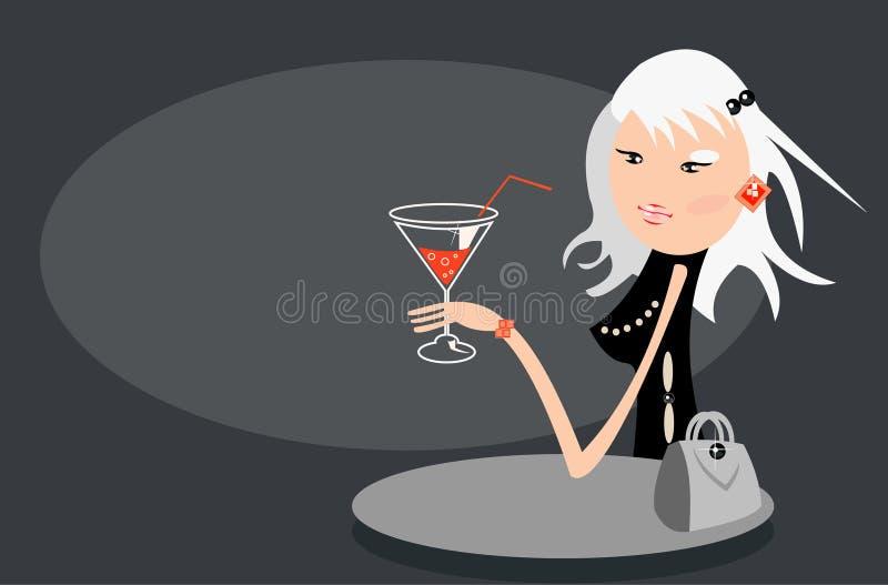 Menina loura no café ilustração do vetor