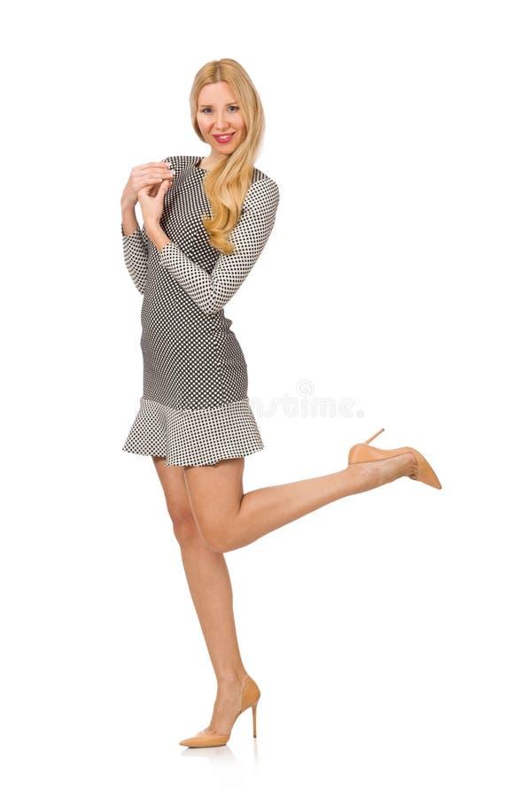 Menina loura no vestido do às bolinhas isolado no branco foto de stock