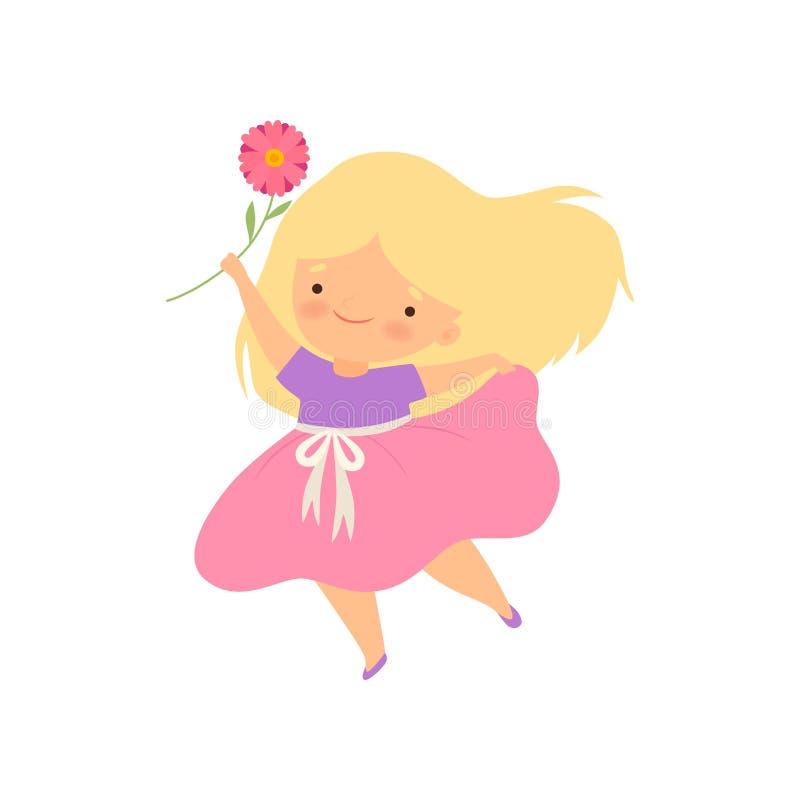 Menina loura pequena bonita com ilustração cor-de-rosa do vetor dos desenhos animados da flor ilustração stock