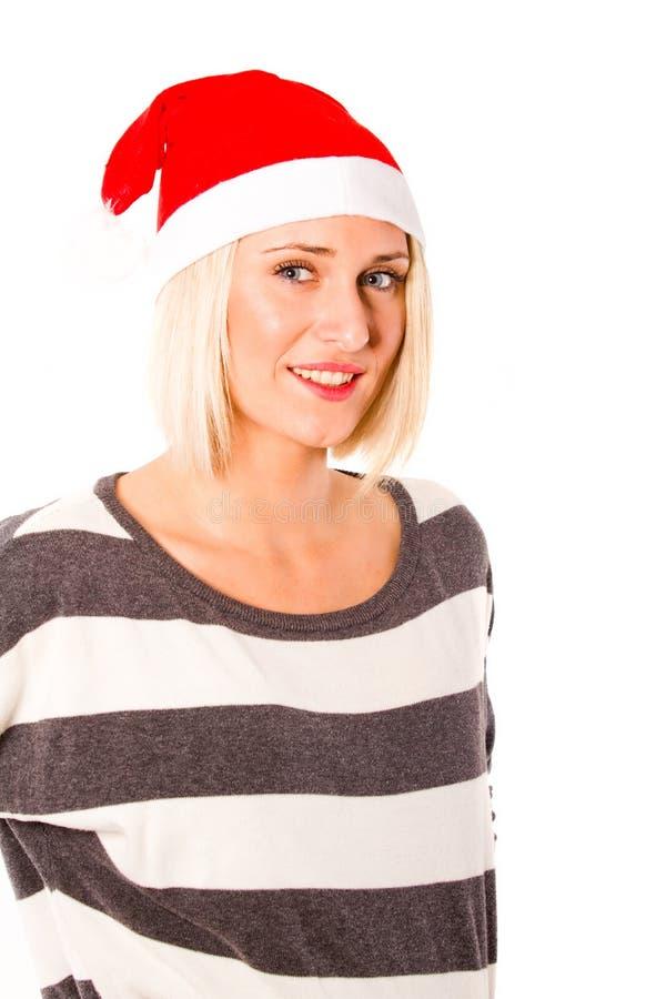 Menina loura pronta para o Natal imagens de stock royalty free