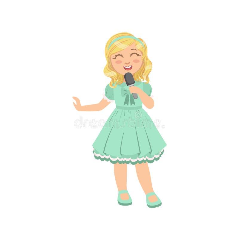 Menina loura que canta no karaoke ilustração royalty free