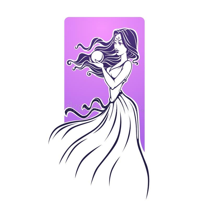 Menina mágica, caixeiro de fortuna, futuro bonito da leitura da mulher no cr ilustração royalty free