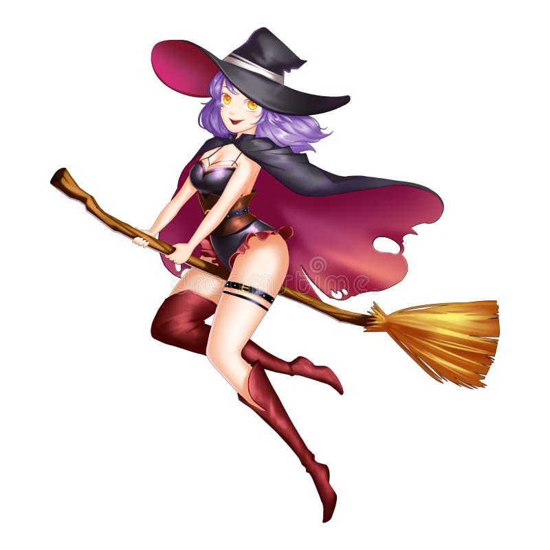 Menina mágica da bruxa com estilo do Anime e dos desenhos animados ilustração stock
