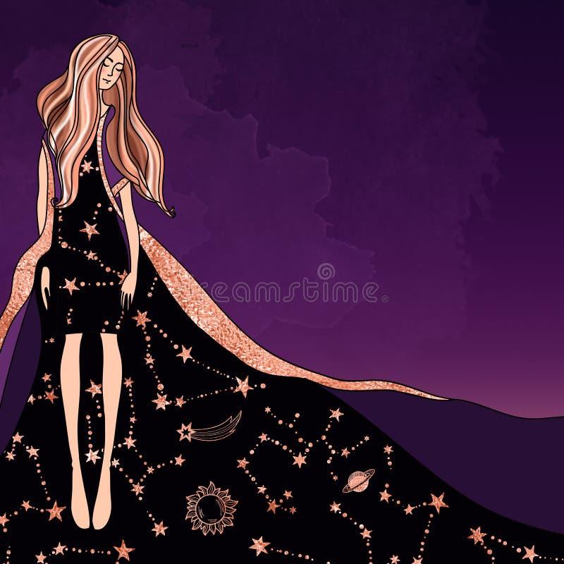 Menina mágica do astrólogo em um vestido com um teste padrão do zodíaco em um fundo roxo místico na moda ilustração royalty free