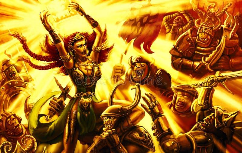 Menina mágica do guerreiro da batalha épico com o exército da escuridão ilustração royalty free