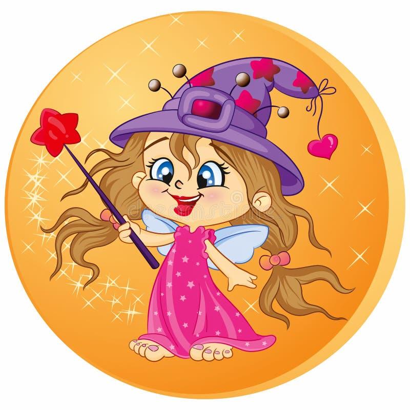 Menina mágica encantadora ilustração do vetor