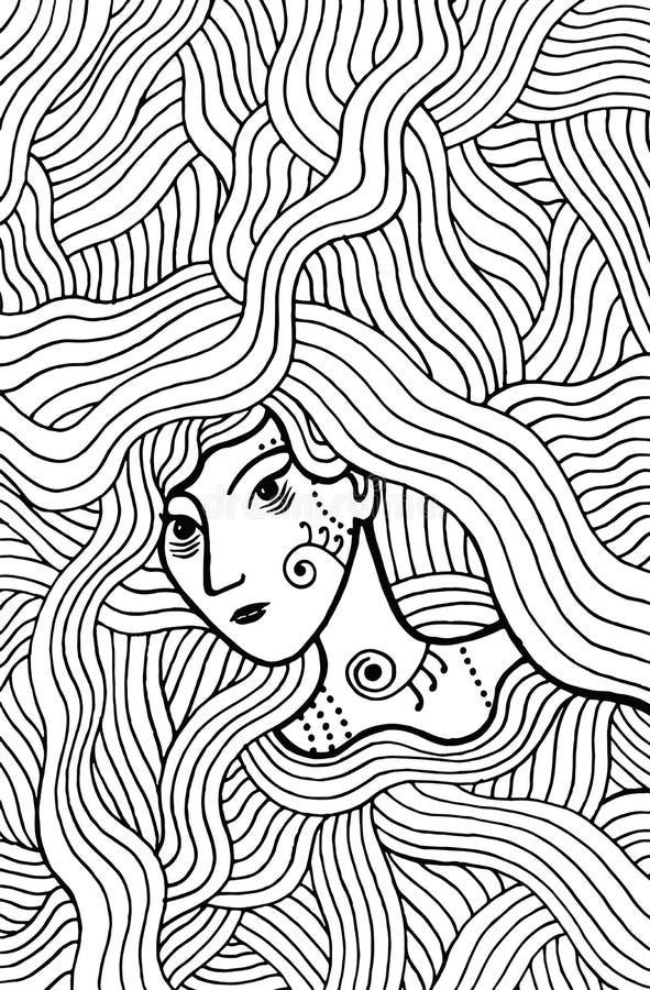 Menina místico do curandeiro com cabelo ondulado Página da coloração da garatuja para o adul ilustração royalty free