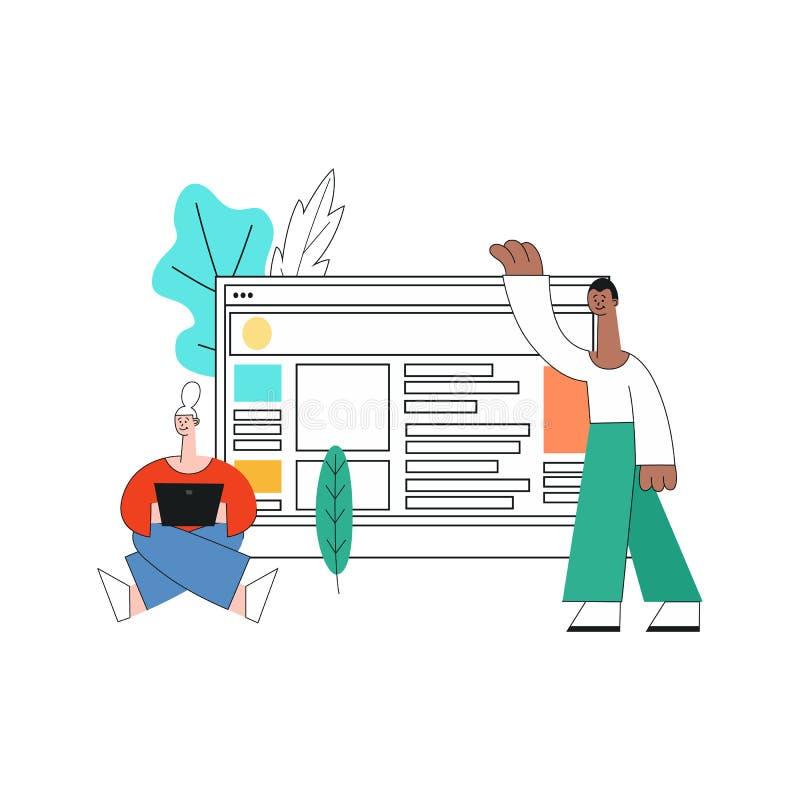 Menina móvel do desenvolvimento dos apps do vetor, portátil da mulher ilustração do vetor